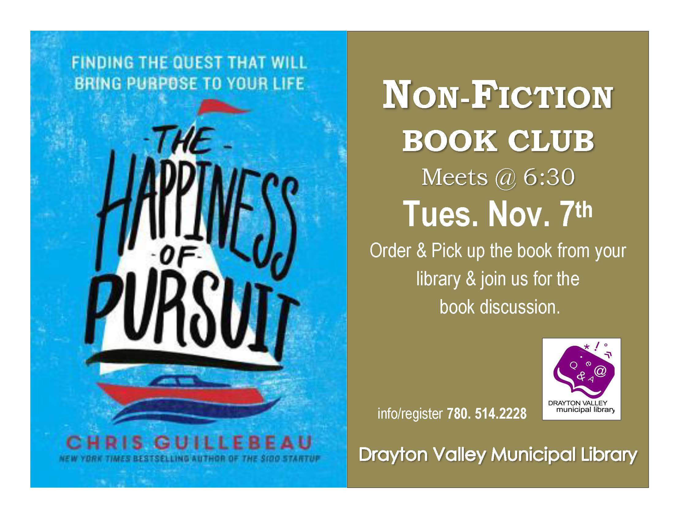 Non Fiction Book Club – November 14 Happiness of Pursuit